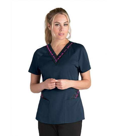 Grey's Anatomy Spandex Stretch Women's Zip V Contrast Scrub Top- GVST017