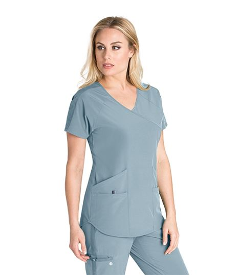 Barco One Wellness Women's Mock Wrap Scrub Top-BWT008