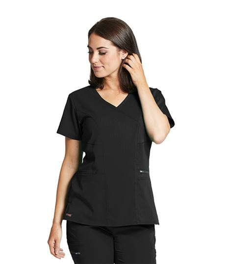 Grey's Anatomy Spandex Stretch Women's  3 Pocket Surplice Scrub Top-GRST001