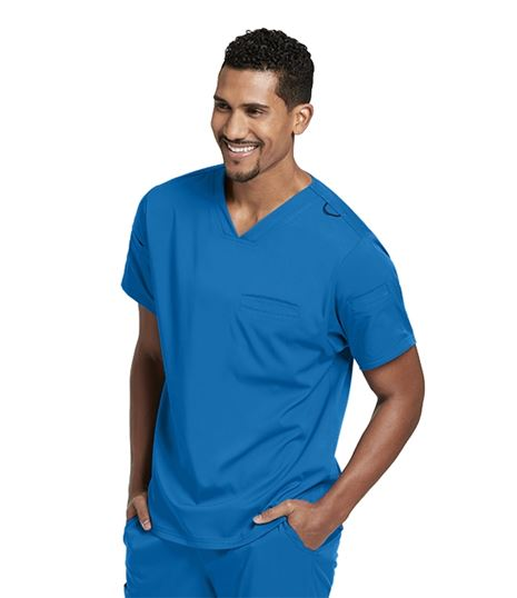 Grey's Anatomy Spandex Stretch Men's 3 Pocket Scrub Top-GRST009