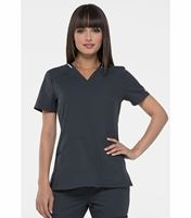 Elle Contrast Trim V-Neck  Scrub Top-EL650