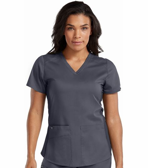 Med Couture Touch Women's V-Neck Shirttail Hem Kerri Scrub Top-7459