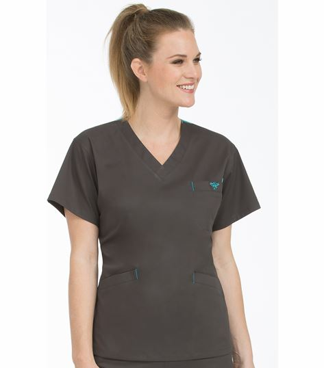 Med Couture Signature Women's 3 Pocket V-Neck Scrub Top-8403
