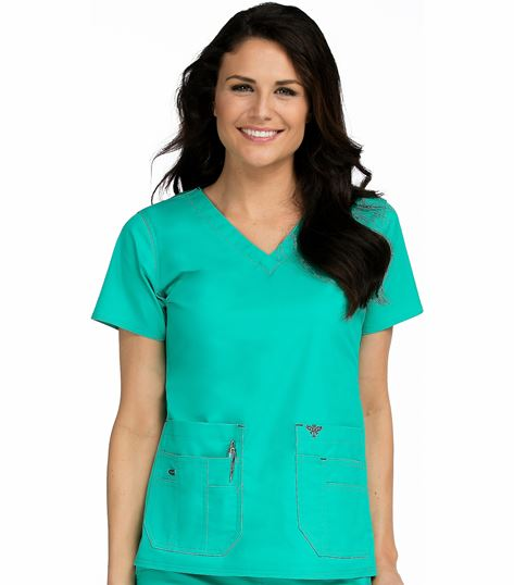 Med Couture Flex-It Women's Knit Panel V-Neck Scrub Top-8458
