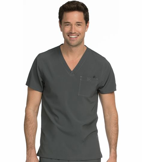 Med Couture Activate Men's Sport V-Neck Scrub Top With Stretch-8530