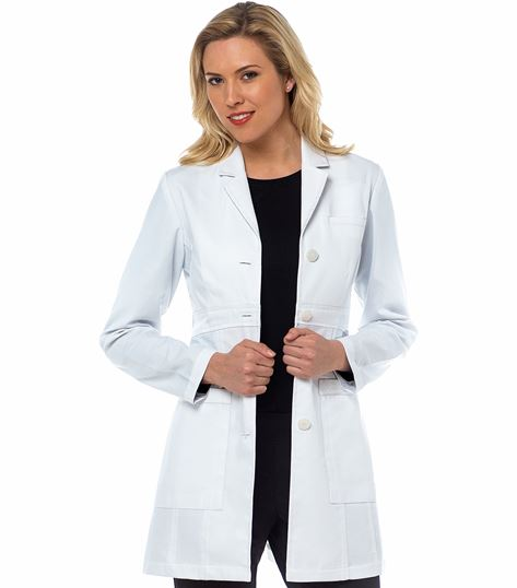"Med Couture Boutique Women's Sophia Empire Waist 32"" Lab Coat-9652"