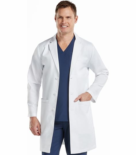 "Med Couture Boutique Men's 38"" Long Herringbone Lab Coat-9680"