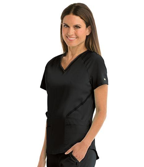 Grey's Anatomy Impact Women's 4 Pocket Logo Elastic Scrub Top-GIT007