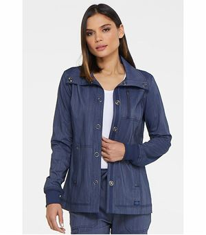 Dickies Advance Two Tone Twist Women's Snap Front Warm Up Scrub Jacket-DK325