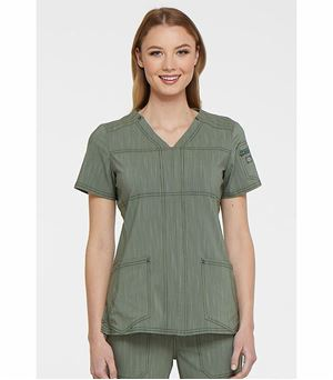Dickies Advance Two Tone Twist Women's Rounded V-Neck Scrub Top -DK690