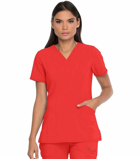 Dickies Advance Solid Tonal Twist Women's V-Neck Scrub Top With Patch Pockets-DK755