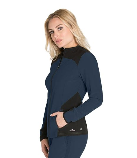 Barco One Wellness Women's Color Block Warm-Up Scrub Jacket-BWW901