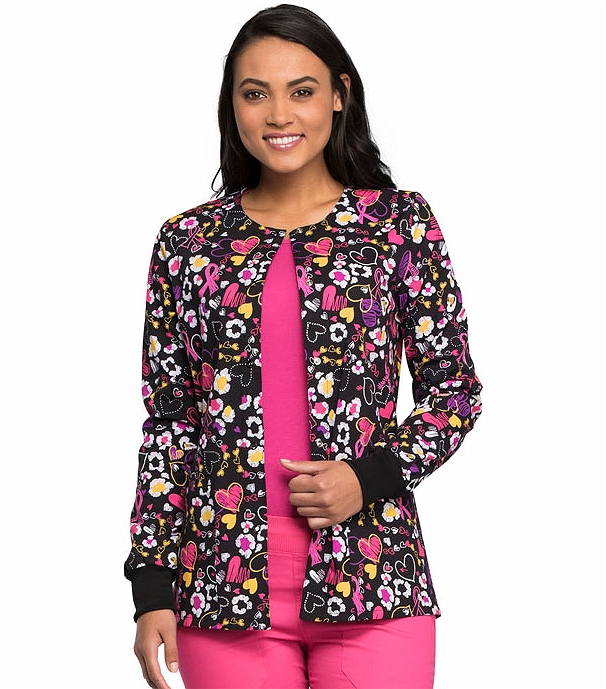 Cherokee Women's Snap Front Printed Warm-Up Scrub Jacket ...