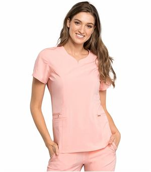 Cherokee Statement Curved V-Neck  Scrub Top CK695