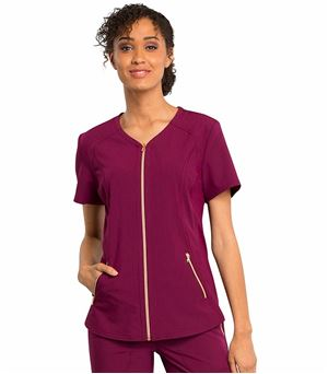Cherokee Statement Zip Front V-Neck Scrub Top-CK795