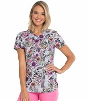 HeartSoul Mock Wrap Floral Printed Scrub Top-HS634