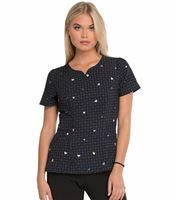 HeartSoul Women's Printed Peplum style V-Neck Scrub Top-HS671