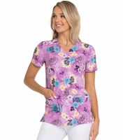 HeartSoul Floral Printed  V-Neck Scrub Top-HS676