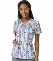 WonderWink Four-Stretch Women's Sporty Printed V-Neck Scrub Top-6217