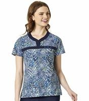 WonderWink WonderFLEX Women's Notched V-Neck Printed Scrub Top-6278