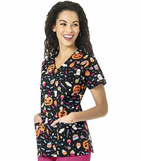 Wonderwink Zoe+Chloe Women's V-Neck Printed Scrub Shirt-Z12202