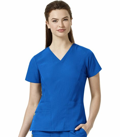 WonderWink Four-Stretch Stylized V-Neck Scrub Top-6114