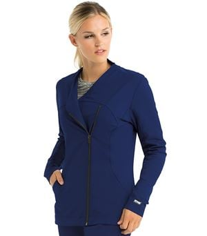 Grey's Anatomy Impact Women's Sorona Asymmetric Zip Warm Up Scrub Jacket-7445