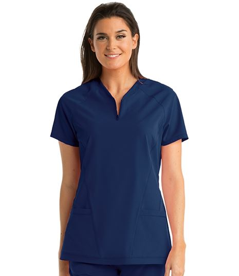 Barco One Women's  Zip V-Neck Perforated Scrub Top-BOT002