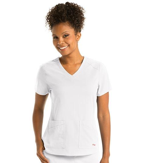 Grey's Anatomy Spandex Stretch Women's 4 Pocket Scrub Top-GRST011