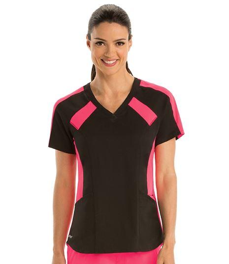 Grey's Anatomy Active Spandex Stretch Women's Contrast Raglan Scrub Top- GVST003