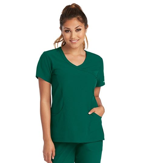 Skechers Women's Reliance Mock Wrap Stretch Scrub Top-SK102