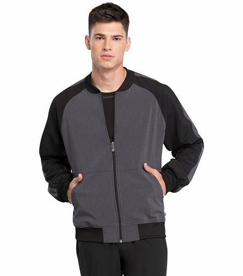 Cherokee Infinity Men's Colorblock Zip Up Bomber Scrub Jacket-CK335A