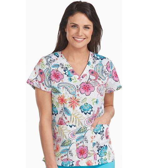 Med Couture Prints Women's Print V-Neck Vicky Print Top-8564