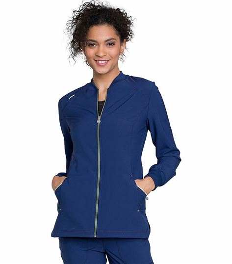 Cherokee Infinity Women's Zip Up High Low Warm-Up Scrub Jacket-CK380A