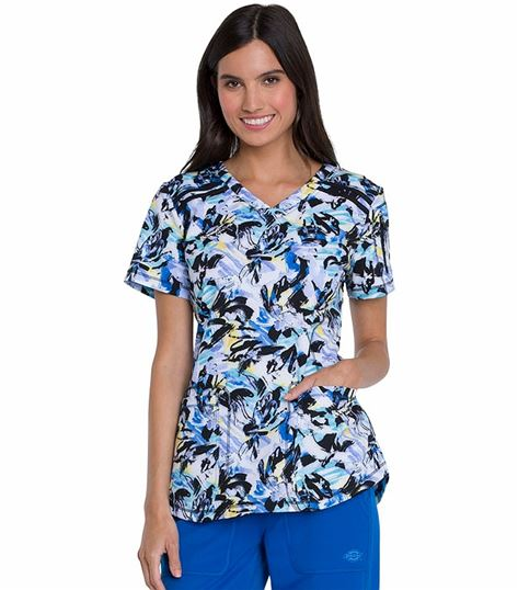 105afb984f7 Dickies Dynamix Women's V-Neck Wild Run Printed Scrub Top-DK741 | Medical  Scrubs Collection