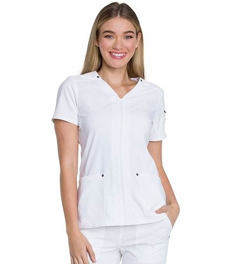 Dickies Advance Solid Tonal Twist Women's V-Neck Scrub Top-DK760