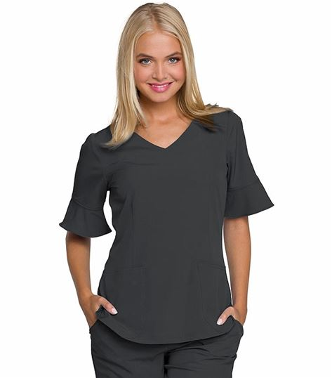 HeartSoul Women's V-Neck Bell Sleeve Scrub Top-HS740