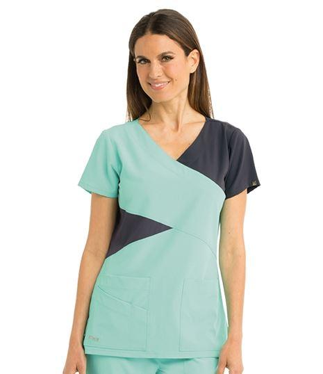 Grey's Anatomy Women's Contrast Mock Wrap Scrub Top-2140