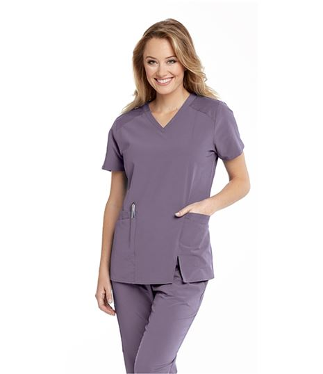 Barco One Wellness Women's 4 Pocket Contrast Panel Scrub Top-BWT012