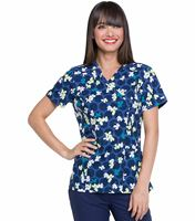 Elle Printed Mock Wrap Scrub Top-EL602