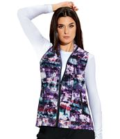 Barco One Women's Printed Zip Up Scrub Vest-5407