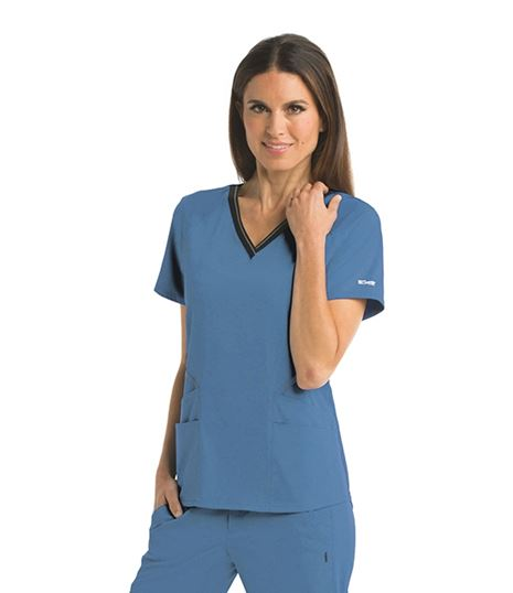 Grey's Anatomy Impact Women's 4 Pocket Logo Elastic Scrub Top-GIT007
