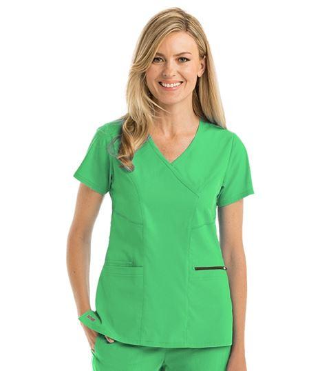 Grey's Anatomy Spandex Stretch Women's  3 Pocket Surplice Scrub Top-GRST001