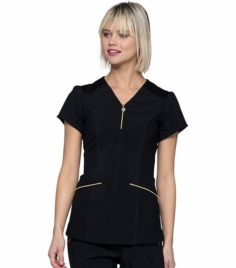 HeartSoul Women's Zip Front V-Neck  Scrub Top-HS715