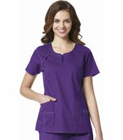 WonderWink Four-Stretch Women's Mock Wrap Printed Scrub Top-6717