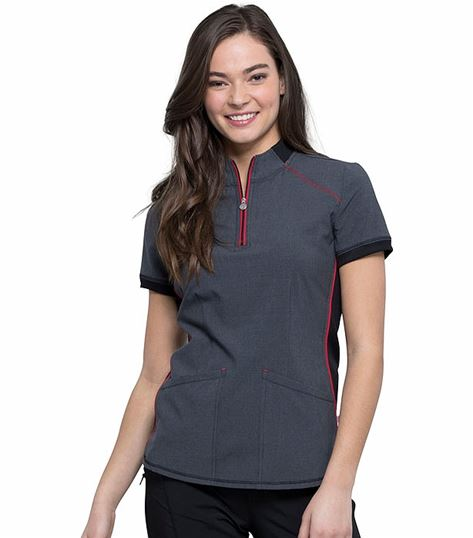 Cherokee Infinity Women's Zip-up Mock Neck Scrub Top-CK805A