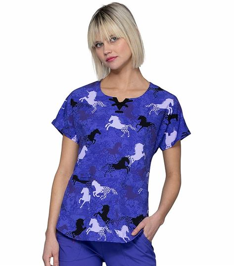 HeartSoul Women's Round Neck Printed Scrub Top-HS685