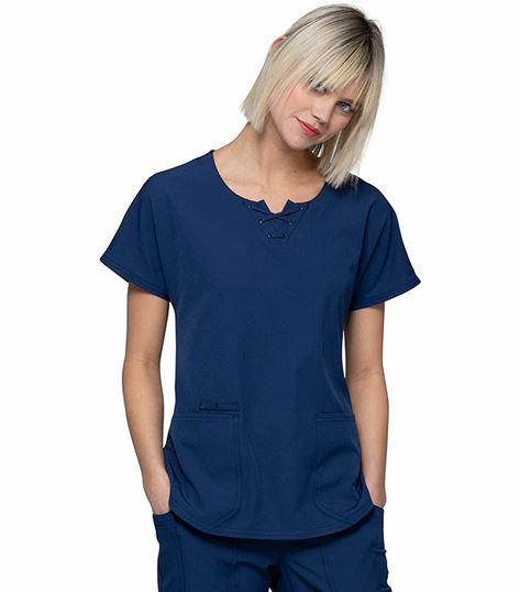 HeartSoul Women's Round Neck Lace Up Detail Scrub Top-HS745
