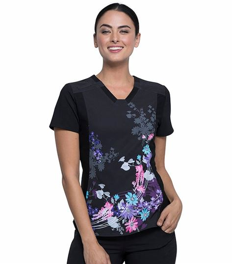 Cherokee iFlex  Printed V-Neck Knit Panel Top-CK647