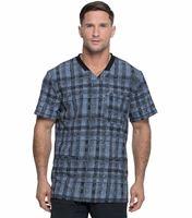 Dickies Dynamix Men's Rib Knit  Printed V-Neck Scrub Top-DK607